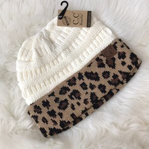 C.C Accessories - Messy bun leopard beanie winter hat cfb43d849765